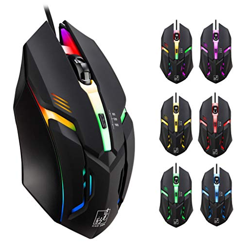 Yuemizi for PC and laptop wired LED lights 4 button 1600DPI optical Usb ergonomics Pro game player gaming mouse for PC laptop chasing leopard K2 colorful wired mouse