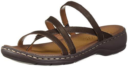 Leather Comfort Slides - Skechers Women's Passenger-Quatre-Multi-Strap Slide Thong Flip-Flop, Chocolate, 7 M US
