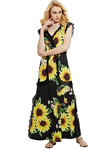 Vintacy Women's Floral Sunflower Print V-Neck Lace Patchwork Black Summer Maxi Long Dress