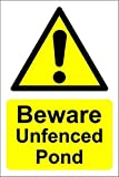 Everett Goodman Home Decor - Safety Sign Beware Unfenced Pond.8x12 Inch Metal Tin Sign