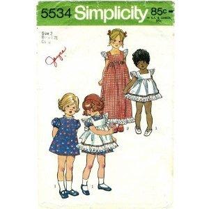Simplicity 5534 Sewing Pattern Toddler Girls Pinafore & Dress Size 5 Vintage 1973 Pinafore Dress Pattern