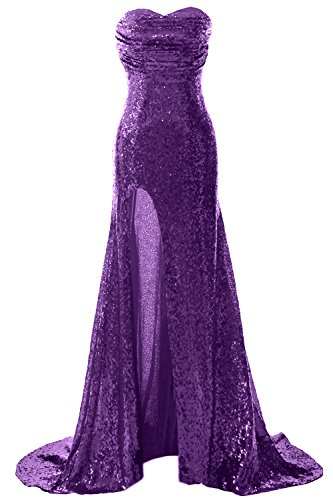 Long Sequin Dress Mermaid Gown with Prom Evening Gorgeous MACloth Slit Violett Formal 5Eq6c