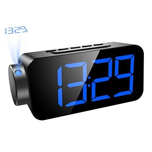 AMIR Projection Clock, FM Radio with Alarm Clock for Bedrooms, Large Digital LED Screen Display with Dimmer, Sleep Timer and Snooze Function, USB Charging Port, Battery Backup for Power Failure