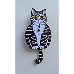 Wall Clock with SwingingTail Pendulum, Cat or Dog, Wood Frame, 31 Different Designs, Requires 2 AA Batteries(not included) for Clock and Pendulum,Quartz Movement (black,white and pink)