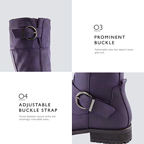Buckle Pu Double DailyShoes Purple Zipper Fashion Shoes Boots Side Military Combat Women's OPUqU4wE