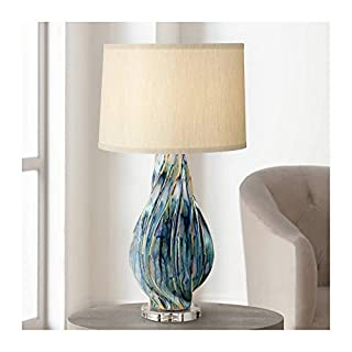 Teresa Modern Table Lamp Ceramic Hand Painted Teal Drip Beige Fabric Drum Shade for Living Room Family Bedroom Office - Possini Euro Design