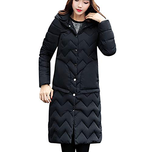 kaifongfu Hooded Coat,Women Coat Collar Long Jackets Winter Padded Overcoat(Black,XL)