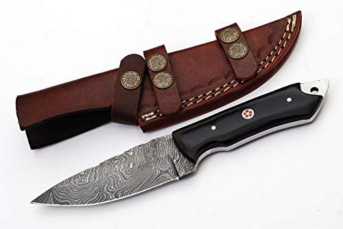 Grace Knives Handmade Damascus Hunting Knife 8.5 Inches G-1051. Handle Made with Buffalo Horn (with Sheath)