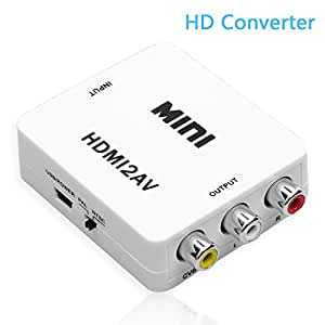HDMI Converter,NUTK 1080P HDMI to AV 3RCA CVBs Composite Video Audio Converter Adapter Supporting PAL/NTSC with USB Charge Cable for PC Laptop Xbox PS4 PS3