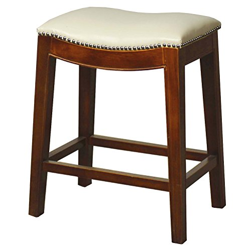 New Pacific Direct Elmo Bonded Leather Counter Stool,Cinnamon Brown Legs,Ivory