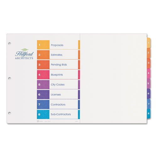 Avery - Ready Index Table/Contents Dividers, 8-Tab, 1-8, 11 x 17, Assorted 11148 (DMi ST