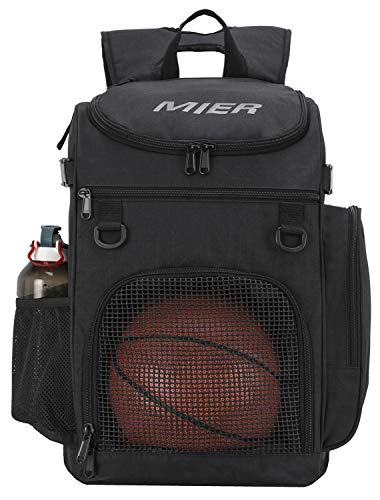 MIER Basketball Backpack Large Sports Bag for Men Women with Laptop Compartment, Best for Soccer, Volleyball, Swim, Gym, Travel, 40L, -