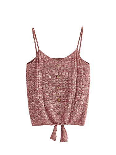 (SheIn Women's V Neck Tie Knot Front Ribbed Knit Sleeveless Cami Tank Crop Top Medium Burgundy)