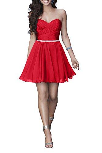 Mini Charmant Partykleider Chiffon Rot Cocktailkleider Kurz Damen Heimkehr Einfach Herzausschnitt kleider wPqwWSOfZ