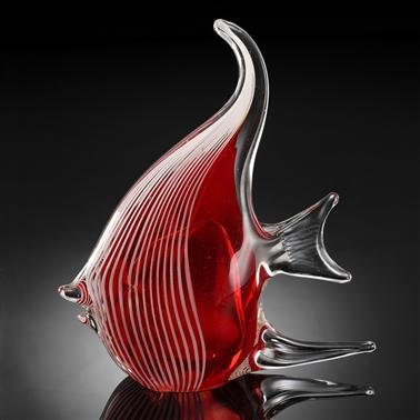 SPI Home Art Glass Red Angel Fish