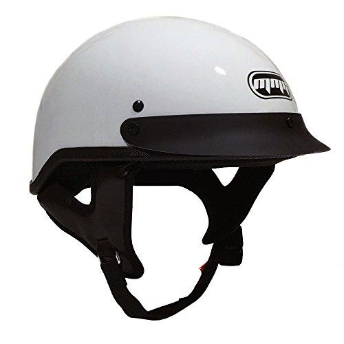Motorcycle Half Helmet Cruiser DOT Street Legal - White (Large) (Helmet Half White)
