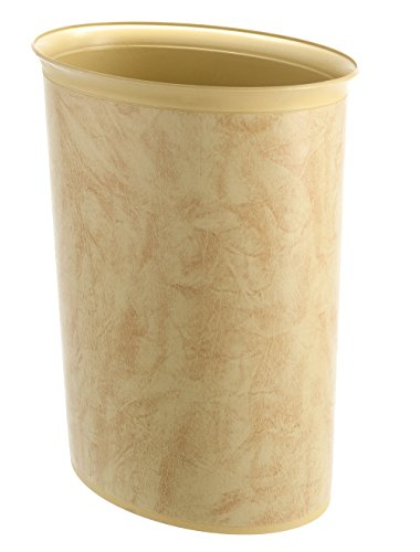 "Bennett ""Plasbin"" Trash Can, Small Office Plastic Wastebasket, Leatherette Finish Modern Home Décor, Oval Shape (Beige)"