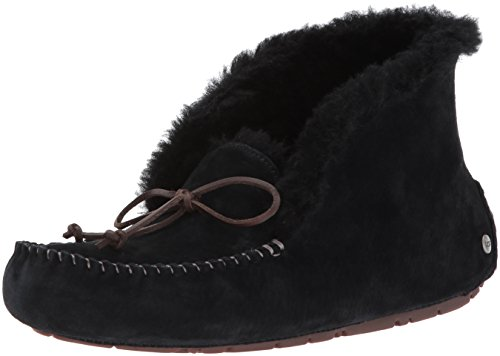 UGG Women's Alena Moccasin, Black, 8 M US (Side East Collar Leather)
