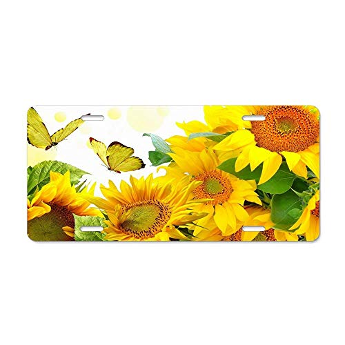 FloralFlames Creative Nature Golden Designs Four Pre Flowers Colors Blue Morpho Personalized Novelty Front License Plates Decorative Aluminum Metal Car Tag Vanity Gift 12 x 6 Inch ()