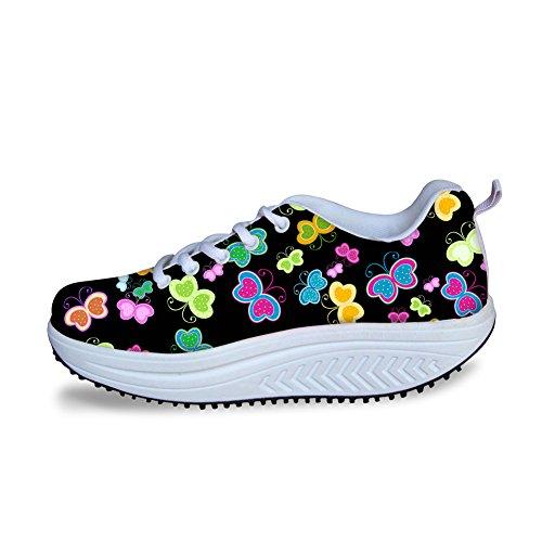 Kramar Idé Sweety Stil Blommor Mesh Kilar Skor Plattform Sneakers Fjäril