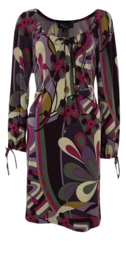 ABS Collection Women's Multi Patterned Long Sleeve Dress (XS,Multi)