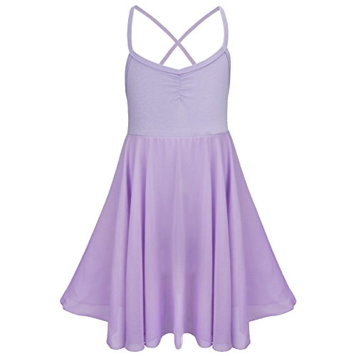 FEESHOW Kids Girls Empire Waist Gymnastics Camisole Leotard Ballet Dance Dress Ballerina Costumes Lavender 5-6