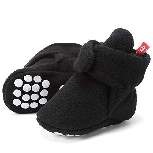 FANTINY Newborn Baby Cozy Fleece Booties with Non Skid Bottom,DNDXBX,N.Black,12