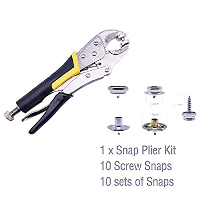 Heavy-Duty Snap Pliers Fastener Tool Kit Snap Installation Set Hand Tools Snap Setter for Fastening , Replacing Metal Snaps, Repairing Boat Covers, Canvas, Sewing, Tarps, By YZS