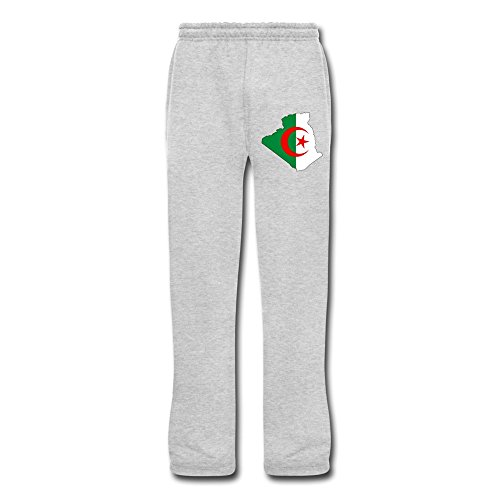 Men's Algeria Flag Map Fleece Pants Ash - Pant Peace Fleece