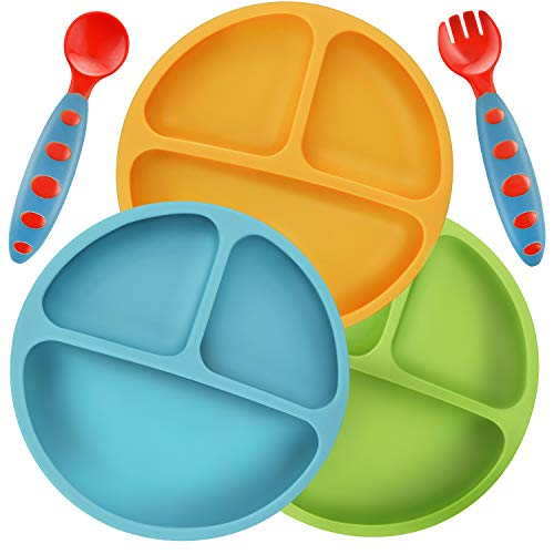 PandaEar Divided Unbreakable Silicone Baby and Toddler Plates - 3 Pack - Non-Slip - Dishwasher and Microwave Safe - FDA/LFGB Certified Silicone Blue Green Yellow ()