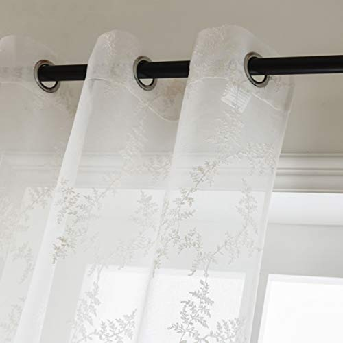 Floral Net Embroidered Lace Curtain - Taisier Home Floral Sheer Curtains Embroidered Leaves Semi Faux Linen Grommet Curtains for Bedroom,Machine Washable Sheer Curtains(52 95 Embroidery Sheer Drapes)