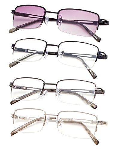 4-pack Half-rim Reading Glasses with Spring Hinges