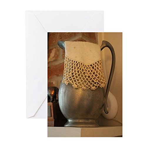 CafePress - Pewter Pitcher With Lace Hankie Greeting Cards - Greeting Card, Note Card, Birthday Card, Blank Inside Matte (Lace Pitcher)