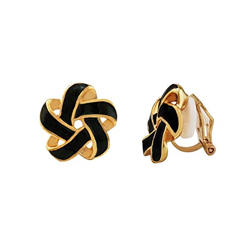 XGALA Star Black Enamel Knot Stud Clip On Earrings Gold Tone
