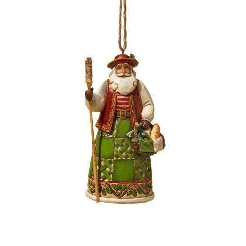 Heartwood Creek Hanging - Enesco Jim Shore Heartwood Creek Italian Santa Stone Resin Hanging Ornament, 4.6""