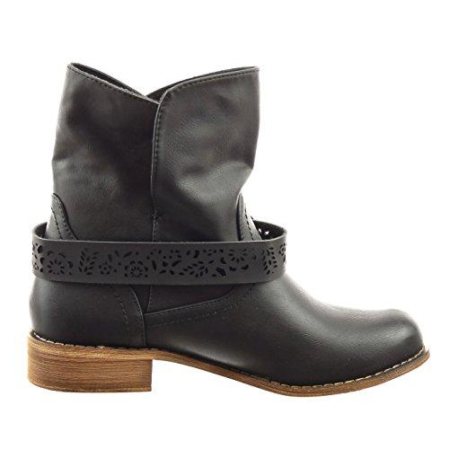 Sopily - Scarpe da Moda Stivaletti - Scarponcini cavalier alla caviglia donna perforato fibbia Tacco a blocco 3 CM - Nero