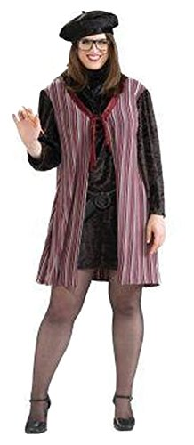 Forum Novelties Women's Beatnik Chick Costume, Multi, Plus (Beatnik Costumes For Halloween)
