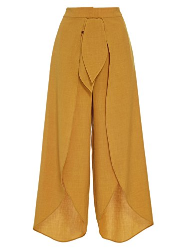GAEGGR Wide Leg Chiffon Women High Tie Waist Trousers Palazzo Yellow Green Long Casual Culottes Pants Yellow M - Broadcloth Tie