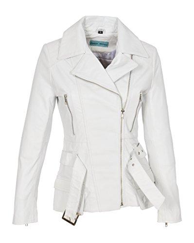 Veste En Véritable Ajusté Longueur Moyenne Blanc Zippé Taille Ceinture ManteauHannah Biker Femmes Cuir CQhrdxts
