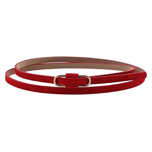 Damara Womens Premium PU Retro Jeans Slim Waist Belt,Red (Thin Red Belt compare prices)