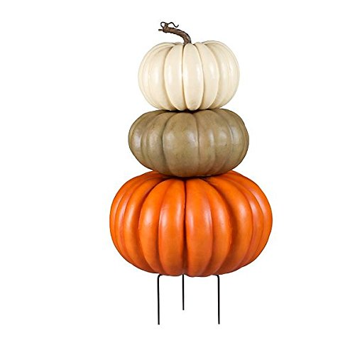 Stacked Faux Pumpkins Fall Decoration | Perfect for Home Indoor / Outdoor Halloween Decor by the Front Door ()
