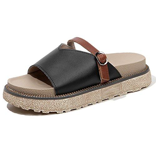 811318b7 Mejor Chancletas Zapatillas Sandalia Vendajes De Cuero Genuino Planas  Gruesas Planas Sandalias De Plataforma PU (