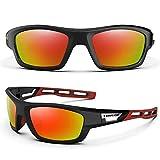 TOREGE Polarized Sports Sunglasses for Man Women Cycling Running Fishing Golf TR90 Unbreakable Frame TR07 Steath Man (Black&Red&Rainbow Lens)