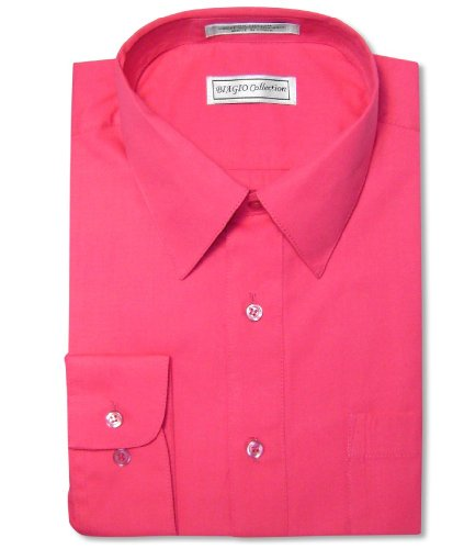 Biagio Men's 100% Cotton Solid HOT Pink Fuchsia Color Dress Shirt sz 20 36/37