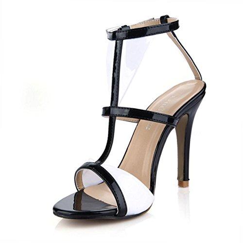 Best 4U® Sandalias de verano para mujer Peep toe de charol 10CM Sandalias de tacón bajo de caucho con suela de goma Stich Color , EU37
