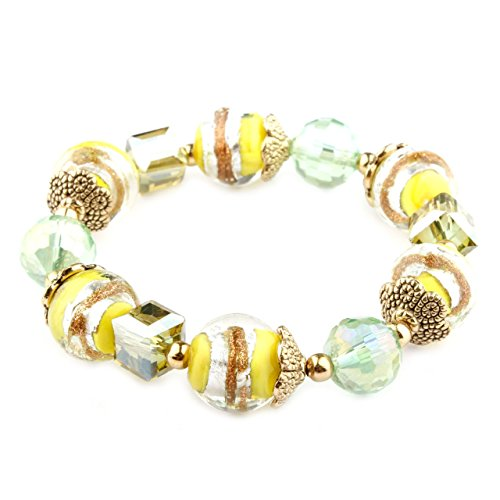Lisa Collection Yellow Murano Glass Bracelet - Murano Glass Stretch Bracelet