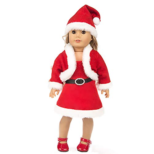 Tiean Chirstmas Clothes Jumpsuit Hat Compatible with 18 Inch American Girl Doll Accessory Girl Toy (B) -