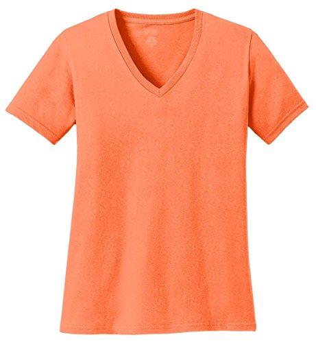 (Port & Company Women's 54 oz 100% Cotton V Neck T Shirt L Neon Orange)