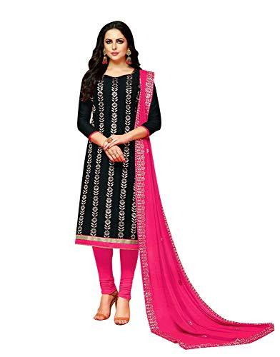 (Ladyline Womens Silk Salwar Kameez Gota Patti Work Embroidered)