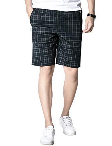 Elastic Waist Plaid Shorts - Gihuo Men's Classic Pure Cotton Elastic Waist Comfort Plaid Short (Blue, XL)